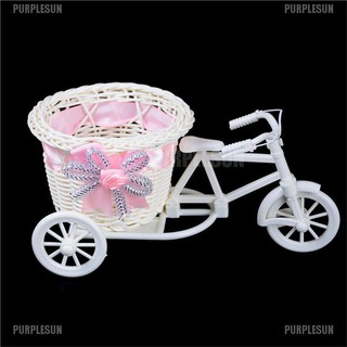 PURPLESUN Romantic Tricycle Designed Rattan Flower Basket Vase Props Wedding Home Decor