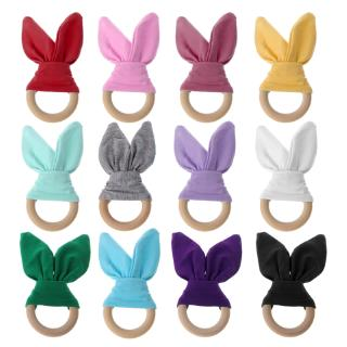 ❀INN Bunny Ear Teether Fabric Wooden Teething Ring With Crinkle Material Shower Gift