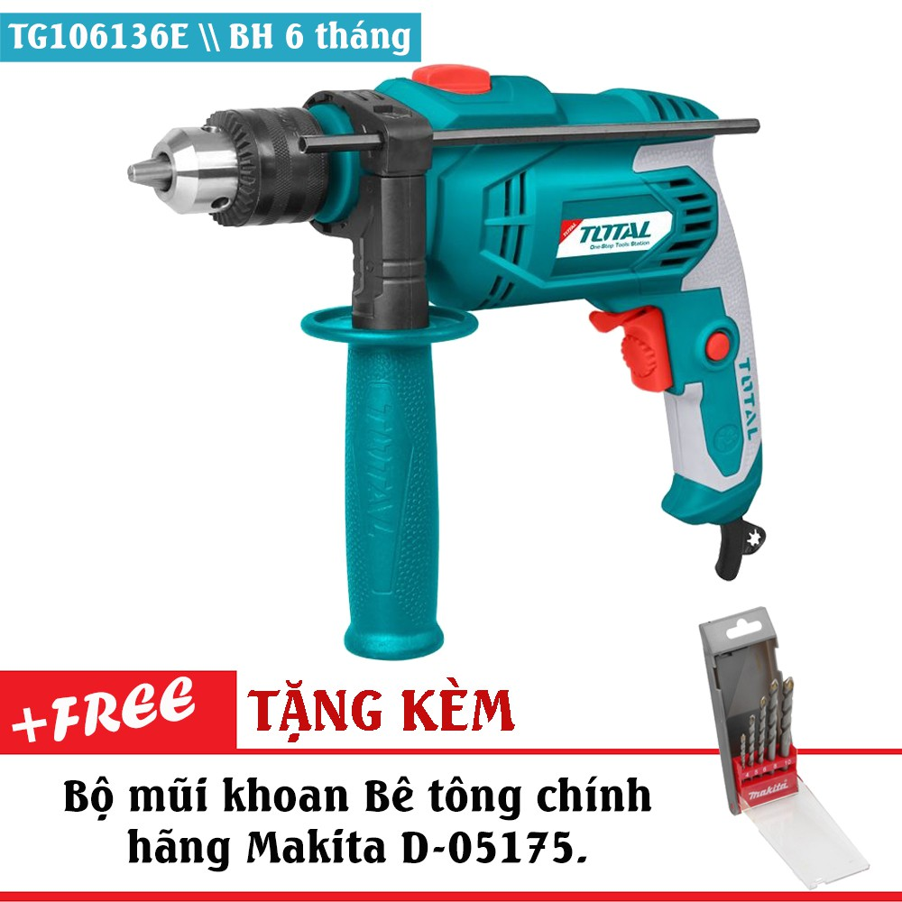 Máy khoan động lực cầm tay 650W Total TG106136E (Tặng kèm chổi than theo máy và bộ mũi khoan Bê Tông - 2992752 , 1057375471 , 322_1057375471 , 589000 , May-khoan-dong-luc-cam-tay-650W-Total-TG106136E-Tang-kem-choi-than-theo-may-va-bo-mui-khoan-Be-Tong-322_1057375471 , shopee.vn , Máy khoan động lực cầm tay 650W Total TG106136E (Tặng kèm chổi than theo