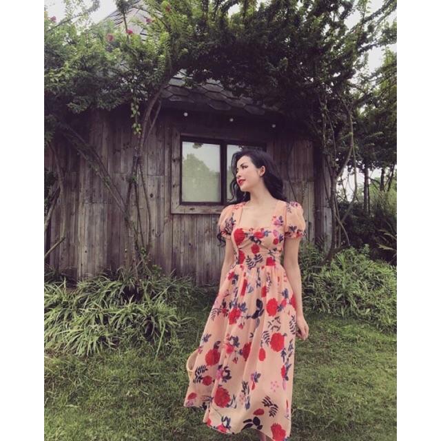 Váy maxi hoa cúp ngực
