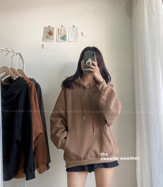 Áo hoodie nỉ bông trơn