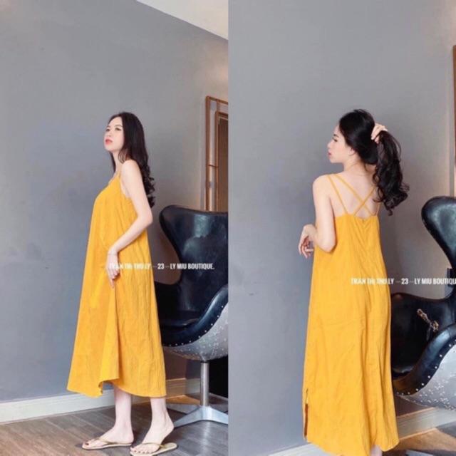 Váy maxi đan dây lưng chất đũi lụa mặc hè siêu mát hàng bán shop