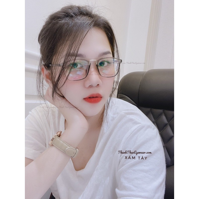 ( Siêu Dẻo) Gọng Kính Cận Dẻo Vuông Phối Kim Loại K210 Nam Nữ Thời Trang Hàn Quốc - ThanhThaoEyewear