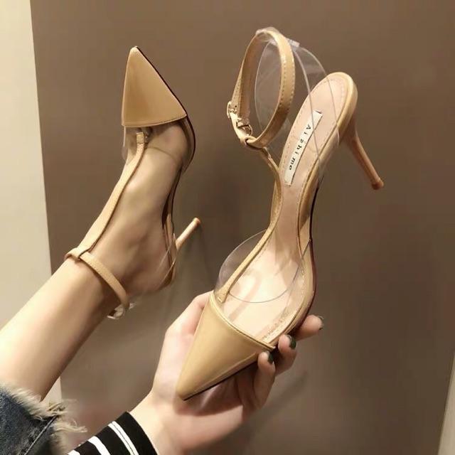 Giày cao gót da bóng đế nhọn 8cm (ảnh thật)