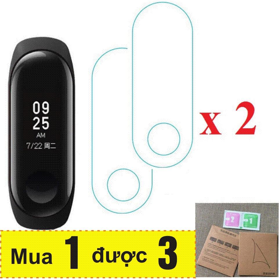 Combo Vòng đeo tay thông minh Xiaomi Mi Band 3, Miband3, Mi band3 (Đen) + 2 Miếng dán màn hình