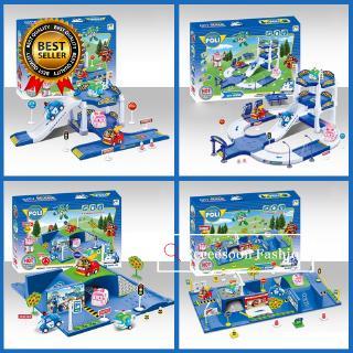 3D City Police Station POLI Railway Alloy Car DIY Model Building Kits Assembly Toys For Kids