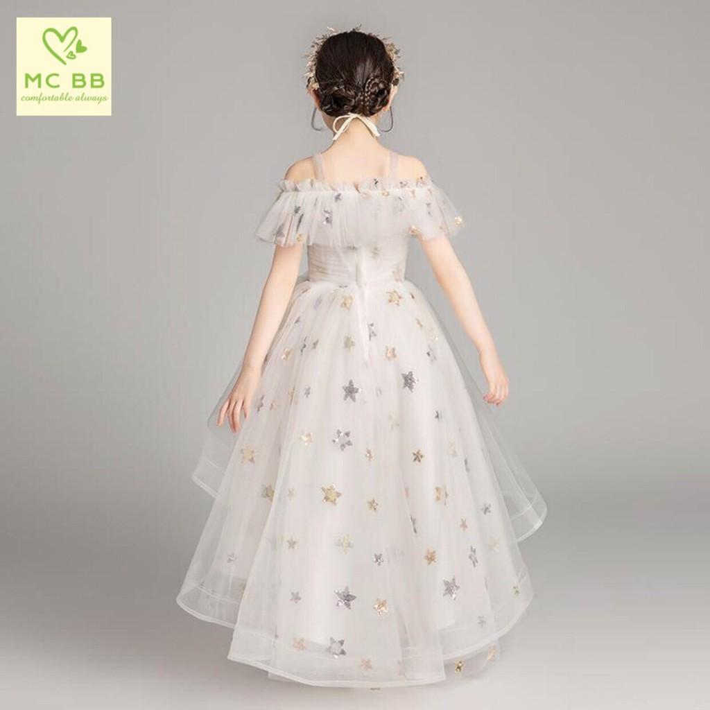 Đầm công chúa dạ hội kim sa ngôi sao bé gái