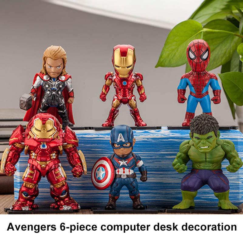 6Pcs Avengers Action Figures Iron Man Hulk Thor Captain American Desk Model Decor