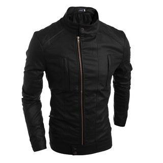 Leather collar collar zipper men's casual PU leather clothing 5662