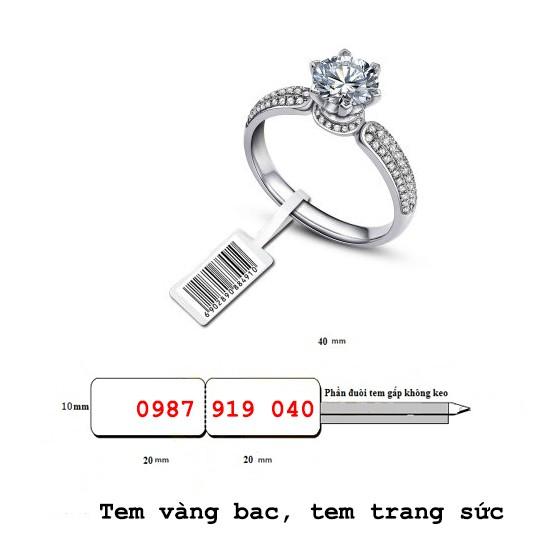 Tem trang sức, Decal PVC dán lên nhẫn, tem vàng bạc cho tiệm vàng- kích thước 40x11mm dài 50m