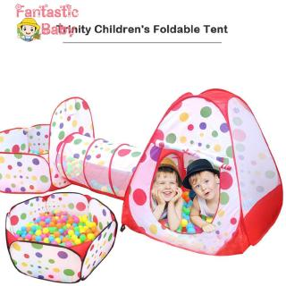 ♆♆3 in 1 Child Foldable Tunnel Tent Toy Outdoor Home Play House Crawling Game☜