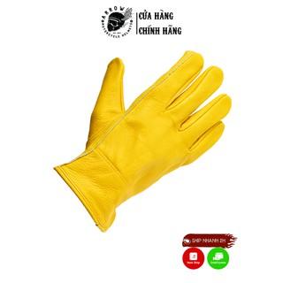 Găng tay da Raw, găng tay bảo hộ đi xe máy chất liệu da thật màu vàng - Arrow thumbnail