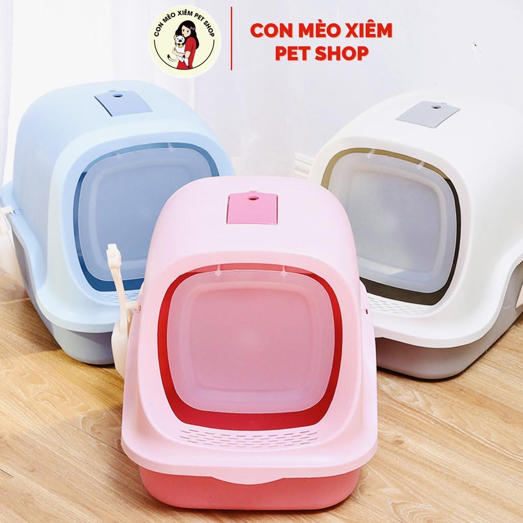 Nhà vệ sinh cho mèo có nắp hạn chế mùi hôi nhiều màu nắp mở tiện lợi- Đồ dùng vệ sinh Con Mèo Xiêm - Hồng