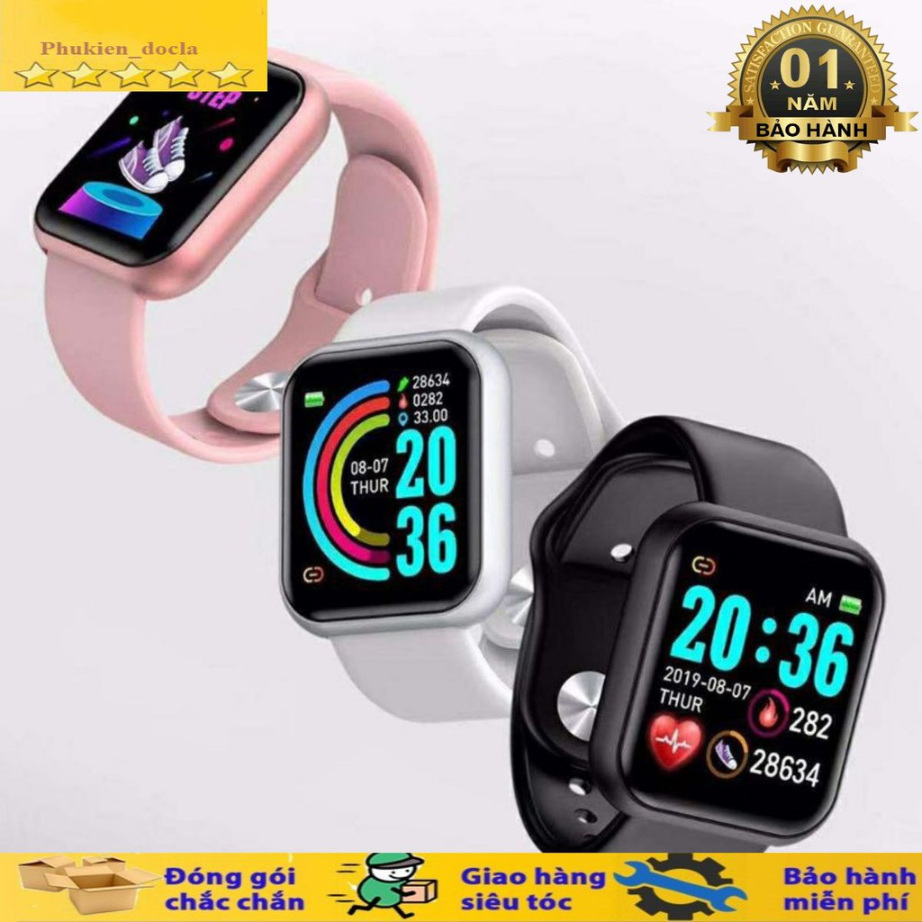 Đồng hồ thông minh Y68 chống nước, kết nối bluetooth, đo nhịp tim, bước chân, theo dõi sức khỏe, bảo hành 1 đổi 1