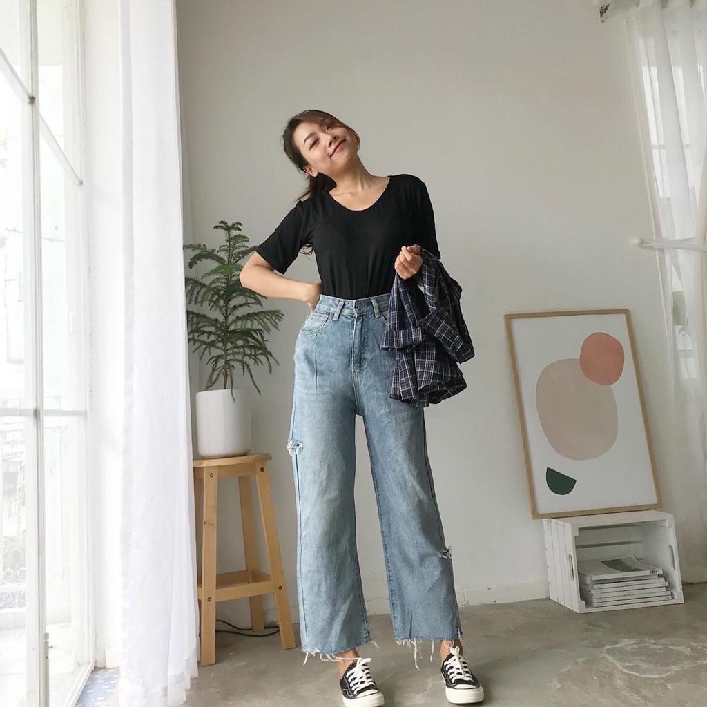 FS50K_Quần Baggy Jeans Nữ Rách Cao Cấp OHS0031