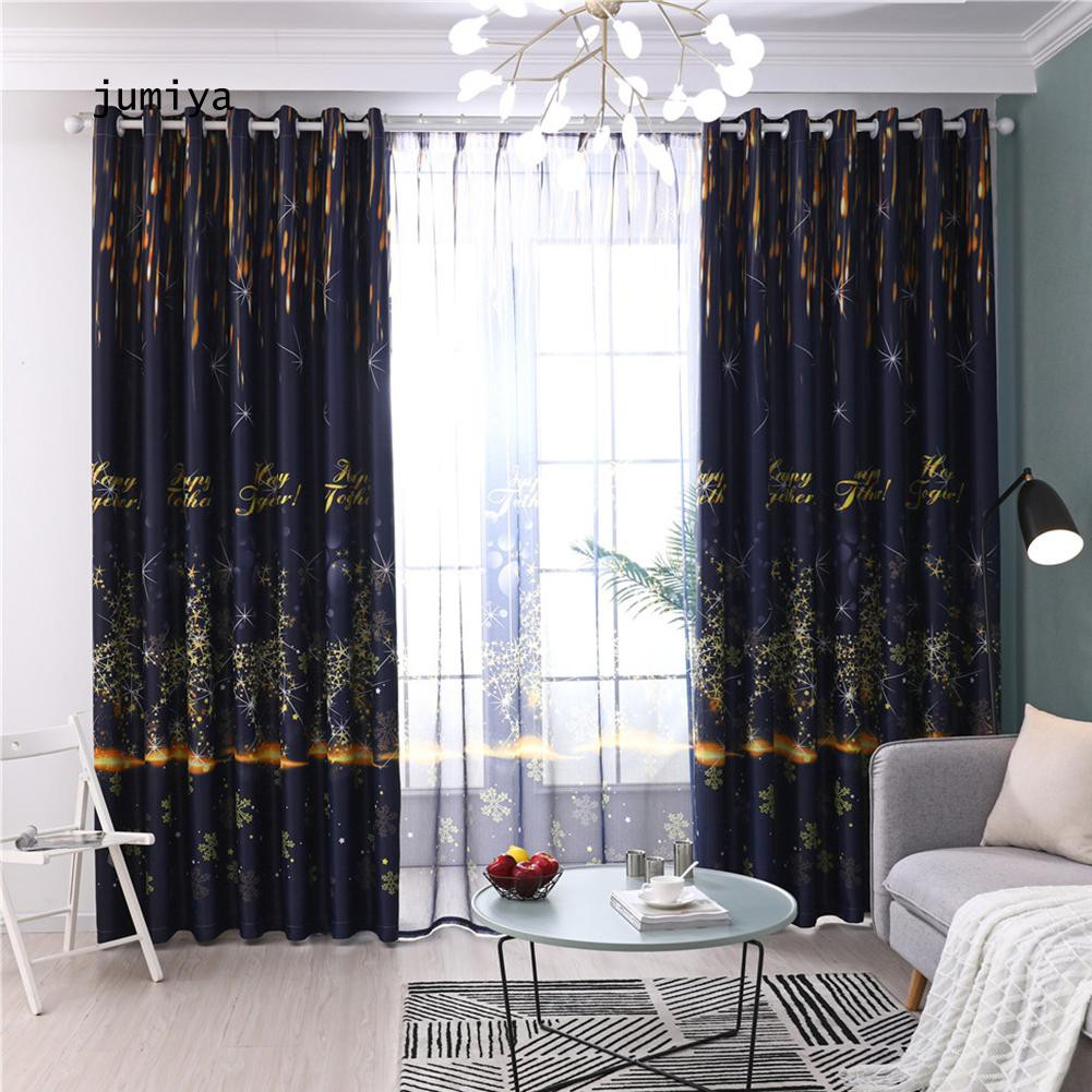JY_Star Deer Letter Window Gauze Curtain Sheer Tulle Drape Home Hotel Balcony Decor
