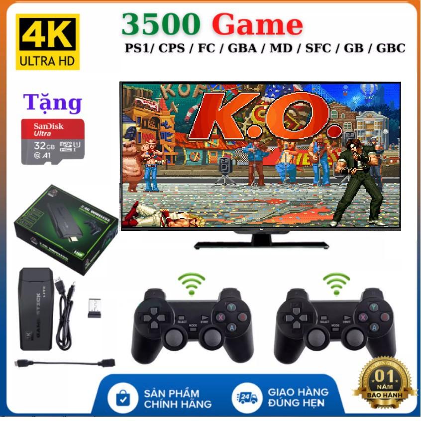 Máy Chơi Game 4 Nút Không Dây- Máy Chơi Game Không Dây Cổng HDMI 4K, Có Sẵn 3500 Game, Hỗ Trợ Tải Game Dạng CPS/ FC/ GBA