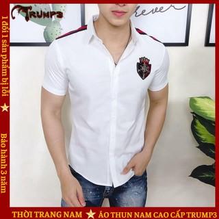 Áo Sơ Mi Nam Ngắn Tay 💝FREESHIP50K💝 Phối Logo siêu chất siêu đỉnh TRUMP3