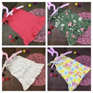 Đầm sát nách cột nơ vai dáng đuôi cá thun cotton cho bé gái từ 8 đến 21kg được chọn màu - Đầm váy bé gái