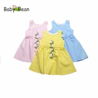 Đầm Cotton Thêu Hoa Đính Nơ Eo bé gái BabyBean