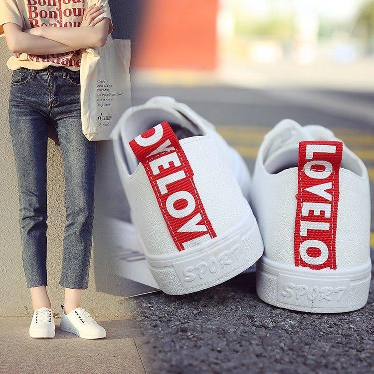 Giày Thể Thao Nữ Cột Dây Màu Trơn Phong Cách Hàn Quốc