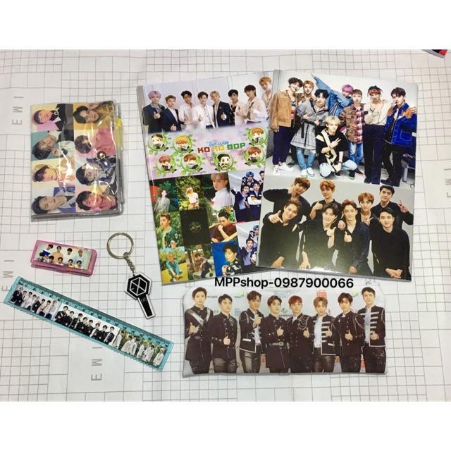 Conbo bộ sản phẩm EXO : 2 vở , 1 ví bút vải,1 sổ bút ,1 thước kẻ, 1 hộp tẩy,1 móc khoá mica EXO