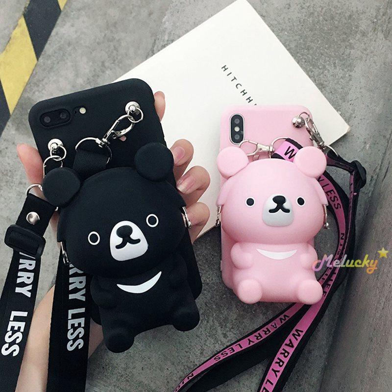Oneplus 1+5,1+5t,1+6,1+6T,1+7 Cartoon bear coin purse phone case