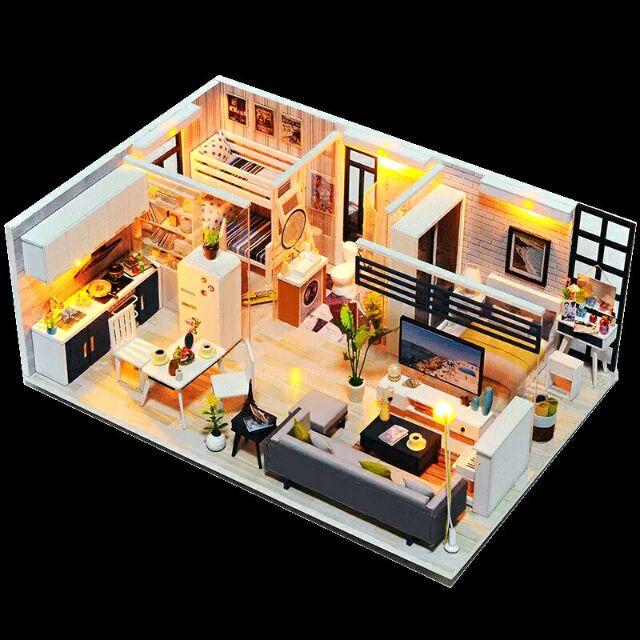 Kèm mica – Mô hình nhà gỗ búp bê dollhouse DIY – M018A Good Time
