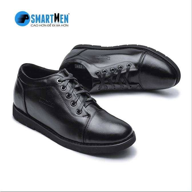 Giày tăng chiều cao da bò SMARTMEN GD2-08 ĐEN