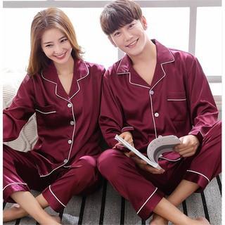 bộ pijama Nam, Nữ dài tay chất liệu vải lụa satin cao cấp có ảnh thật + video