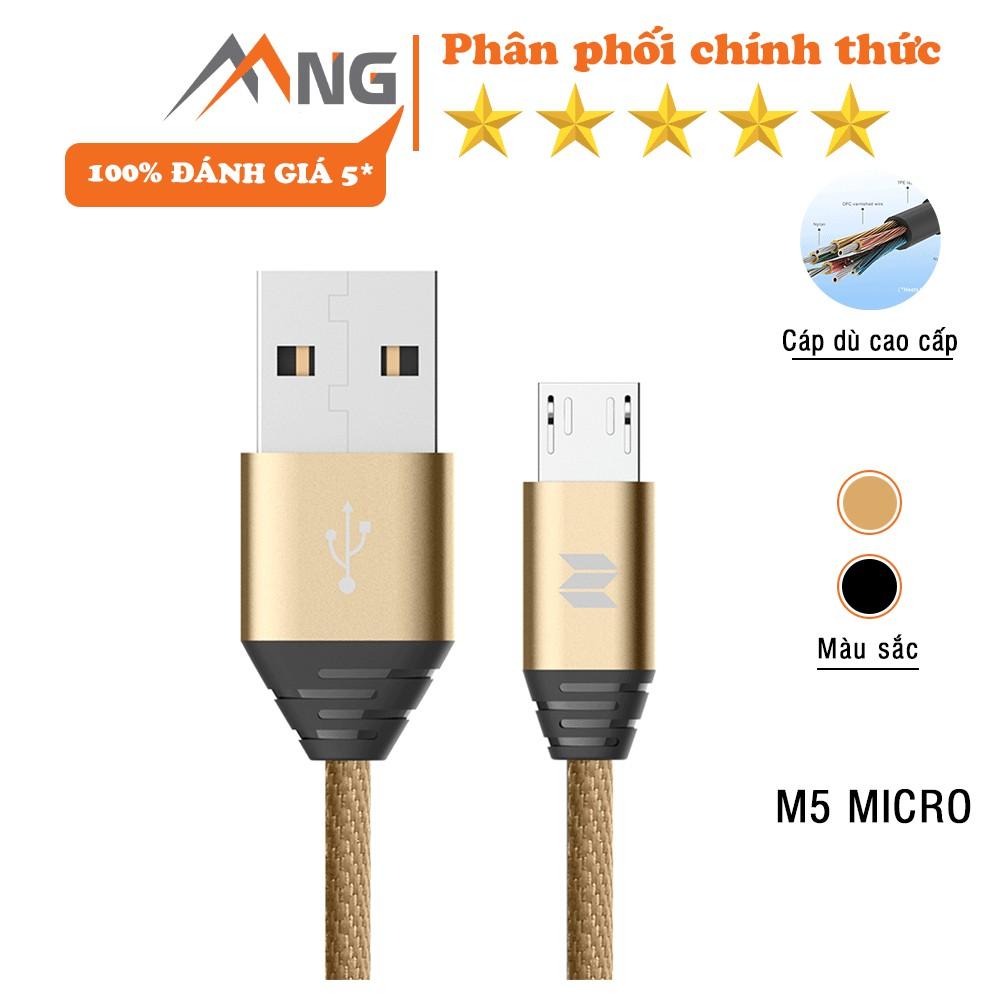 Cáp sạc Rock Space M5 cổng micro usb dây dù 1m dành cho điện thoại androind samsung, huawei, Oppo, Vsmart