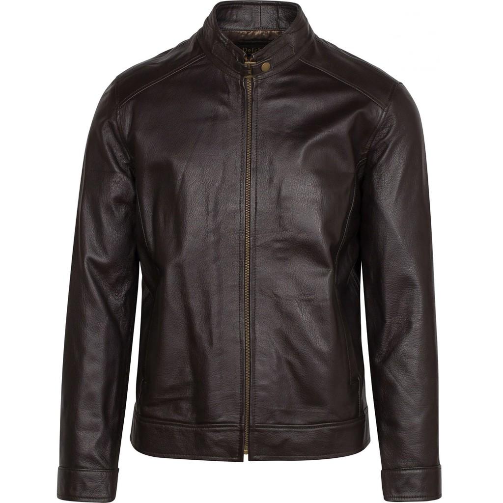 Áo khoác da nam FTT Leather 100% da bò màu nâu đen - Áo khoác dạ