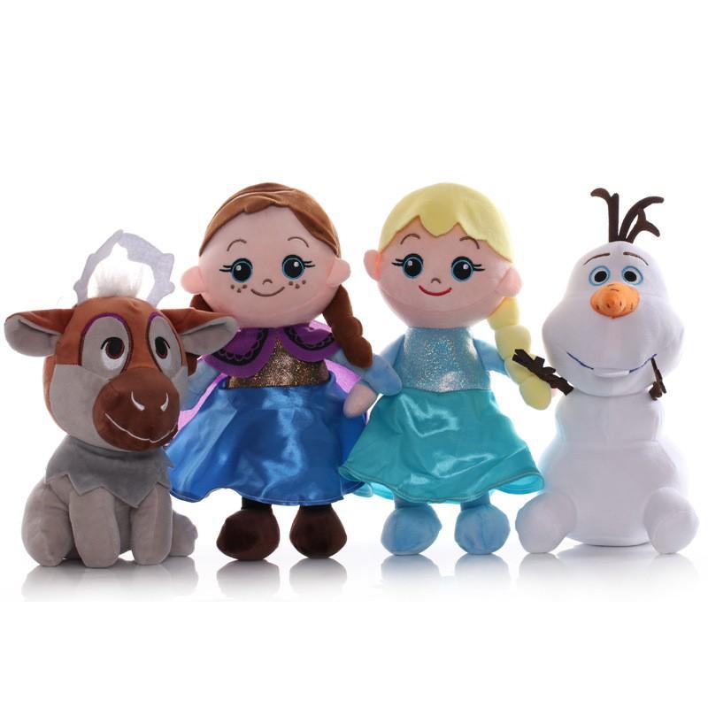Set 4 Búp Bê Nhồi Bông Hình Công Chúa Anna Elsa Olaf Sven Trong Phim Frozen