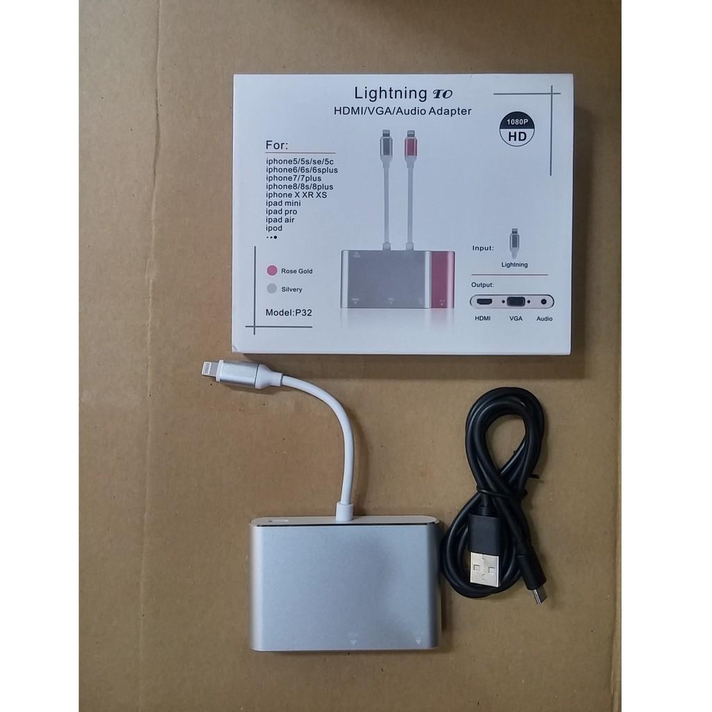Cáp lightning to HDMI và VGA có âm thanh FULLHD