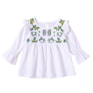 ✸ღ✸Children Blouse Lotus Leaf Sleeve Yellow Flower Green Leaf Pattern Elastic Band Hollow Soft Comfortable Girls