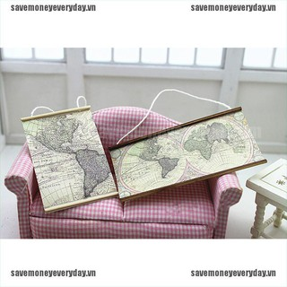 [Save] 1:12 Dollhouse miniature map living room decoration accessories [VN]