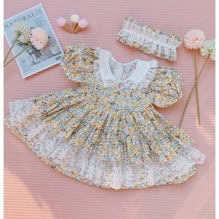Váy Bé Gái/Váy Trẻ Em / Đầm Bé Gái/ Đầm Trẻ Em Chất Thô Mềm Phối Ren Nhiều Tầng Kèm Turban Cho Bé Từ 6-18 Kg