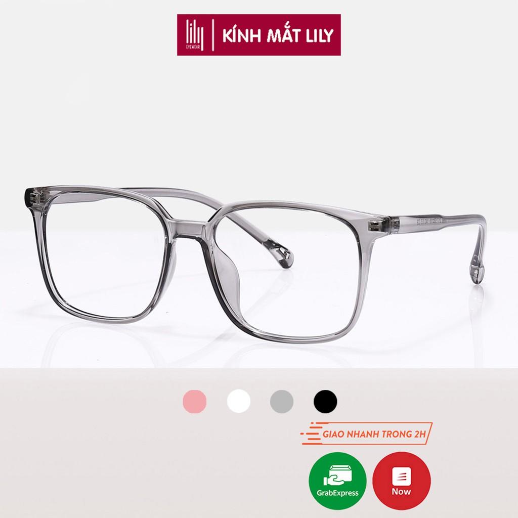 Gọng kính mắt vuông to nam nữ đeo đi đường chống bụi thay mắt cận chất liệu nhựa dẻo Lilyeyewear 217 nhiều màu