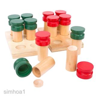 12pcs Wooden Base Smell Cylinder Set -Montessori Toy Kids Educational