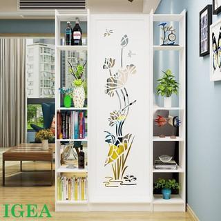 Bình phong Vách ngăn hoa sen liền 1 vách 2 kệ IGEA IG482