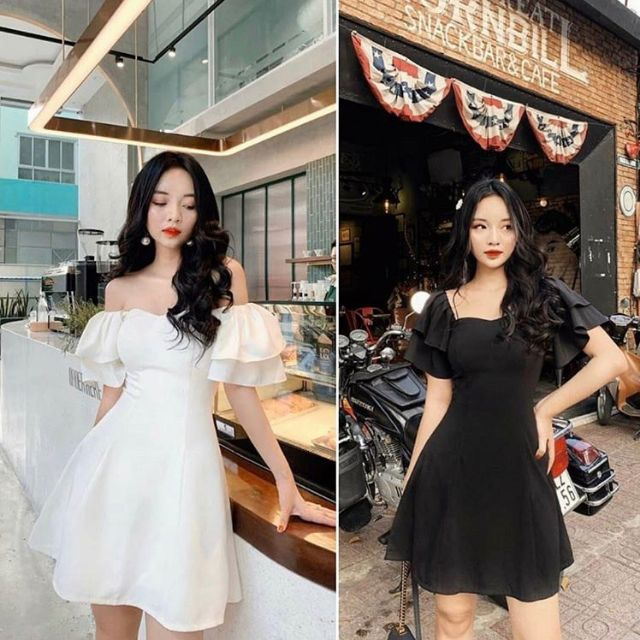 [Mã WASEPRN hoàn 20% xu đơn 99k] Đầm trắng rớt vai tay bèo 2 lớp - Mina Dress