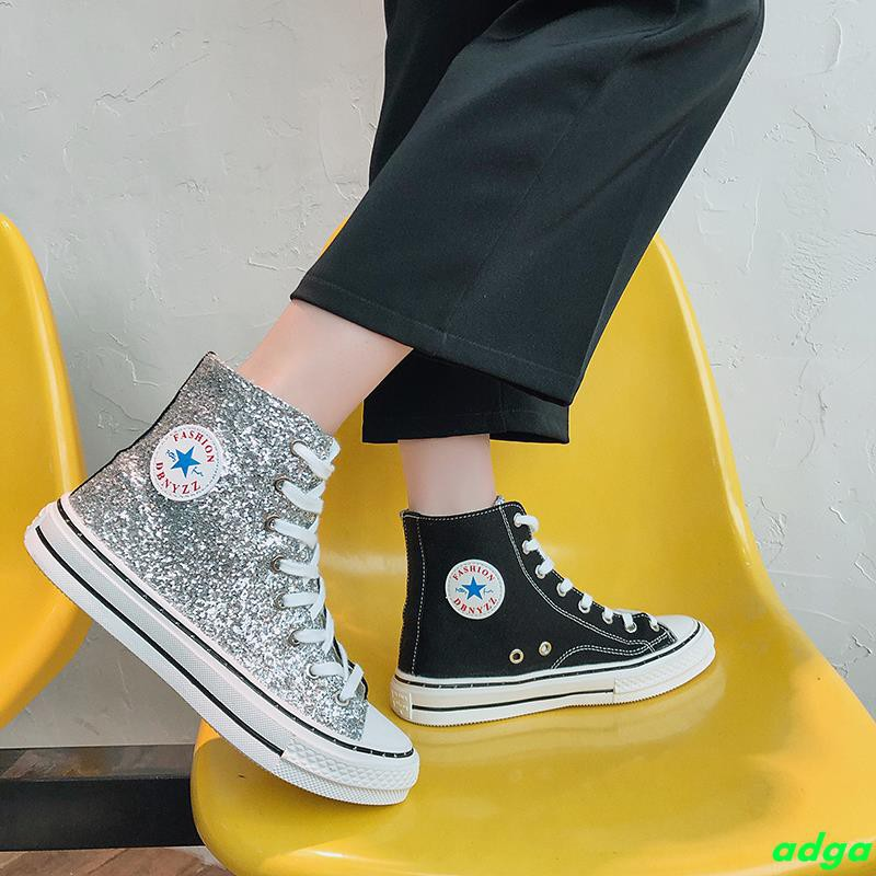 Hip hop women's shoes 2019 spring sequins high shoes flat bottom wild Korean casual shoes Gaobang canvas shoes tide