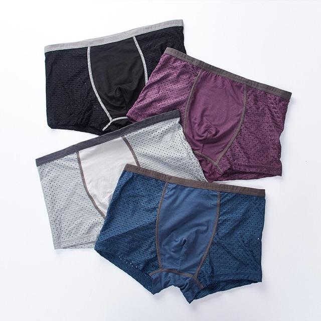 Hộp 4 quần đùi nam thông hơi chất liệu thông hơi 100% nhiều màu