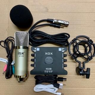 Combo thu âm livestream mic ISK AT350-Card xox KS108 bản tiếng anh bảo hành 1 năm