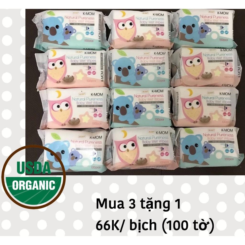 Thùng khăn Natural Kmom Organic - 100 tờ