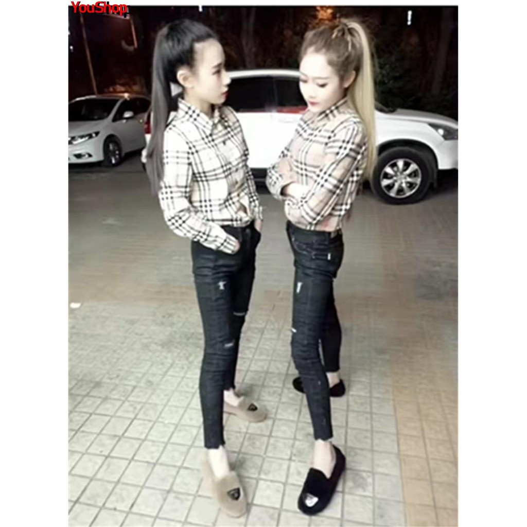 Spring ins super fire plaid shirt female social spirit fast hand net red with the same paragraph Korean student shirt