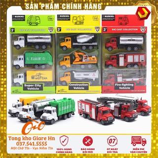 Sét 3 xe công trình, Xe cứu hỏa, Xe môi trường, Xe quân đội, Chất liệu hợp kim siêu bền, kéo - thả thumbnail