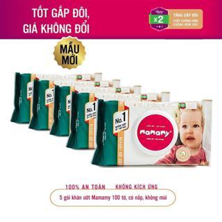 [Hà Nội] Bộ 6 gói giấy ướt không mùi Mamamy có nắp gói (100 tờ)