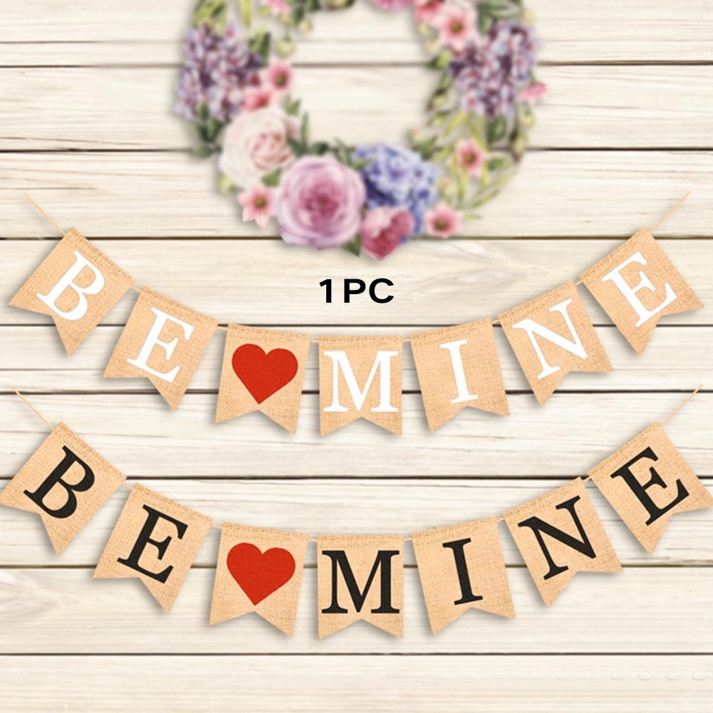 Heart Home Vintage Wedding Valentine's Day Decoration Hanging Linen Banner