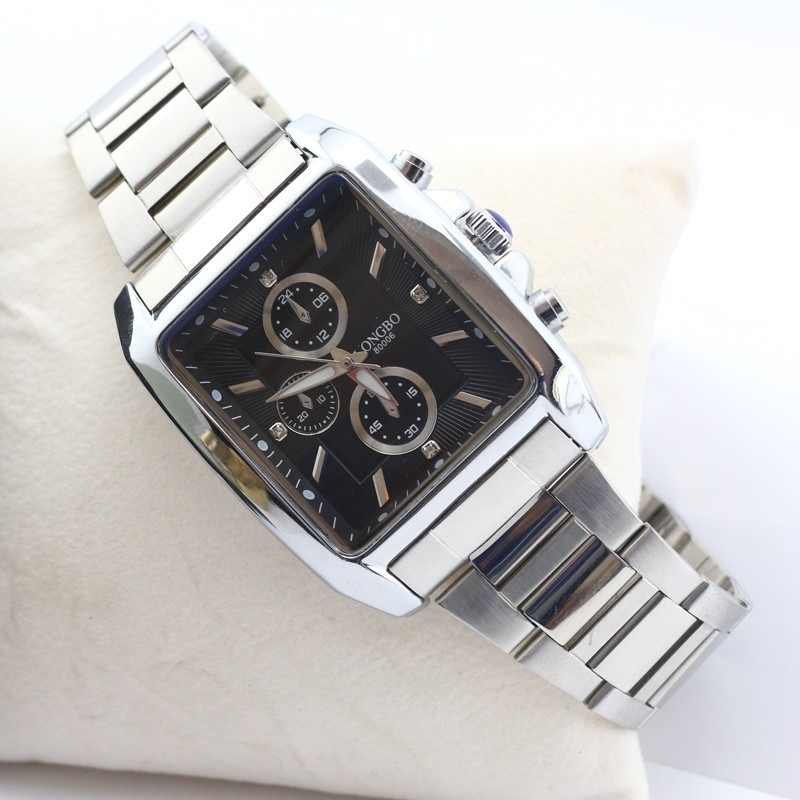 Đồng hồ nam Longbo mặt chữ nhật màu đen